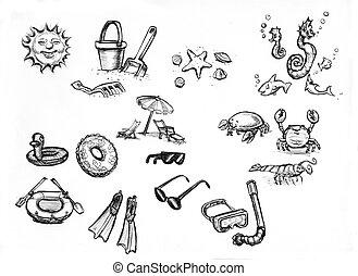 summer beach items - hand drawn sketches of summer beach...