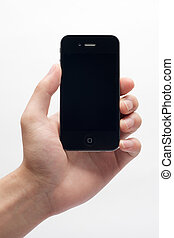 Hand holding iphone in white background