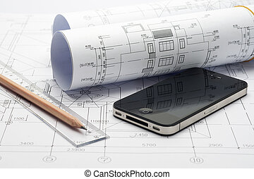 Project drawing and iphone - Project drawing with pencel,...