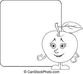 Character apple and poster, outline