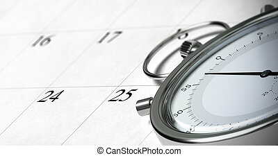 close up of a stopwatch onto a schedule with focus on the...