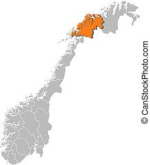 Map of Norway, Troms highlighted