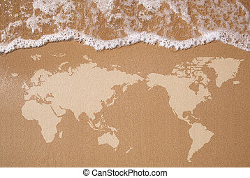 World Map - Textured map of the Earth in wet sand