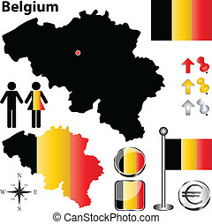 Belgium map - Vector set of Belgium country shape with flags...