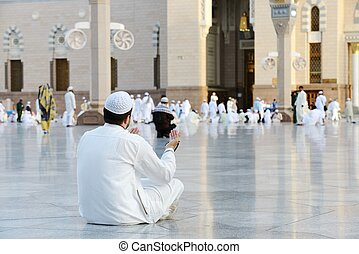 Muslim prayer at holy mosque - Islamic Holy Place