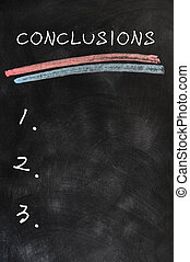 Blank list of conclusions on a smudged blackboard background