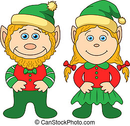 Gnomes, boy and girl - Cartoon, garden gnomes, boy and girl...