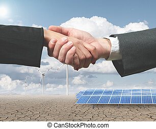Renewable energy handhsake - New renewable energy project...