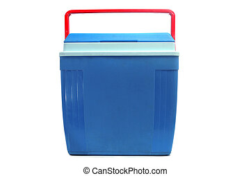 cooler - a blue cooler with a red handle on a white...