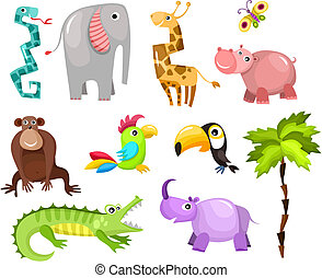 african animals - vector illustration of a cute african...