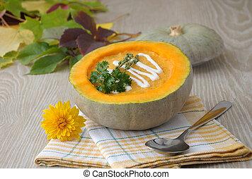 pumpkin Soup - Pumpkin soup in a bowl of pumpkin and thyme...