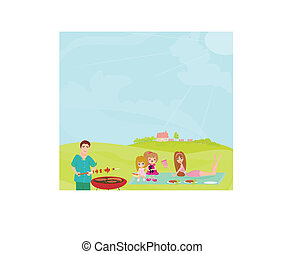 Family Having A Barbecue Party on rural landscape
