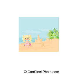little girl building a sand castle - Illustration little...