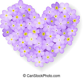 Vector floral heart - Forget-me-not flower heart isolated on...