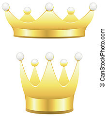 Crown - Two traditional gold crowns with pearls isolated on...