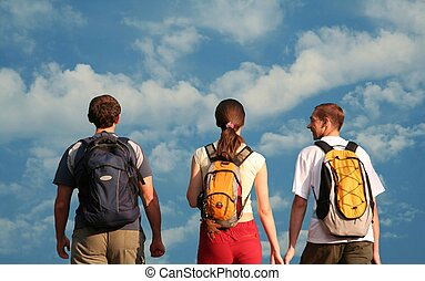Three teens - Young people going on blue background