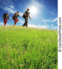 Hiking - Hikers on green meadow