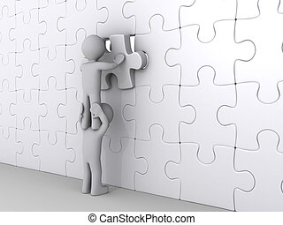 Person on top of another putting last piece of puzzle - 3d...