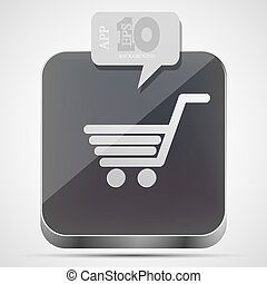 Vector shopping app icon with gray bubble speech. Eps10