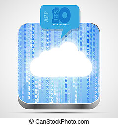 Vector cloud app icon with blue bubble speech. Eps10