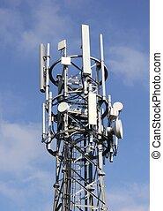 communications tower - a communications tower with a blue...