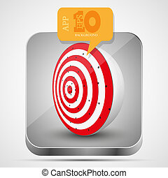 Vector dart app icon with orange bubble speech. Eps10