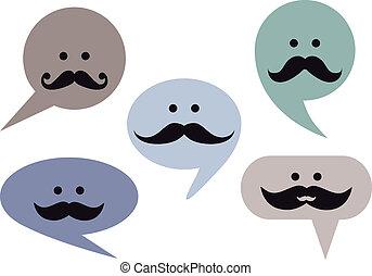 speech bubble faces with moustache, set of vector design...
