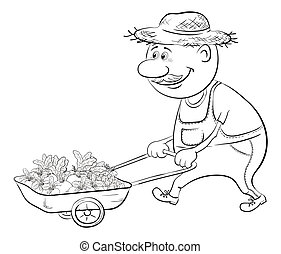Men driven truck with vegetables, outline - Men gardener...