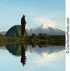Hike in Kamchatka - Male in hiking on Kamchatka