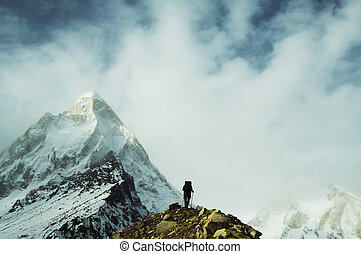 Hike in Himalayan - Climber on Shivling peak background
