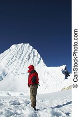 Mountaineer looking on Alpamayo peak