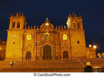 Night caphedral in Cuzco,Peru