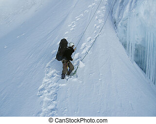 Mountaineering - Climber the climb on glacier