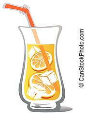 lemonade - Stylized glass of lemonade with lemon slices...