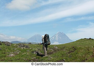Hike in Kamchatka - Male in hiking on Kamchatka