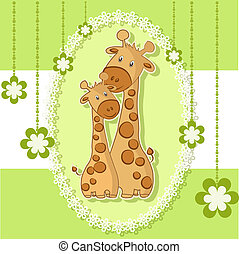A beautiful card with two giraffes on a green background...