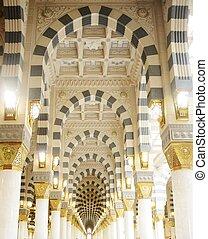 Makkah, Kaaba, mesquita, Dentro, pilares,...