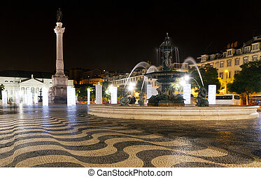 Square of dom pedro IV Lisbon, Portugal, at night