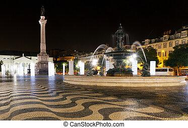 Square of dom pedro IV Lisbon, Portugal, at night