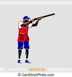 Athlete Shooter - Greek art stylized skeet shooter with...