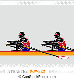 Athlete Rowers - Greek art stylized rowing team at the...