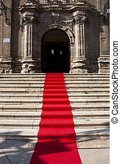 red carpet - Red carpet on the staircase to the church