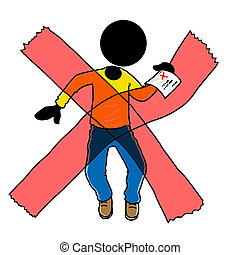 Silhouette-man being rejected with a cross