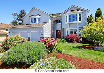 Large American grey house front exterior. - Large American...