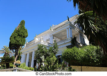 Achillion Corfu Greece - facade of the Achillion in Corfu,...