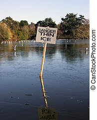 Danger Thin Ice sign at Roath Park, Cardiff