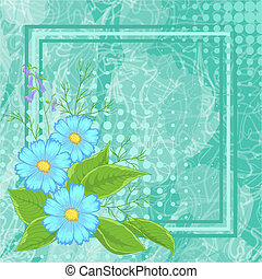 Background with flowers and frame
