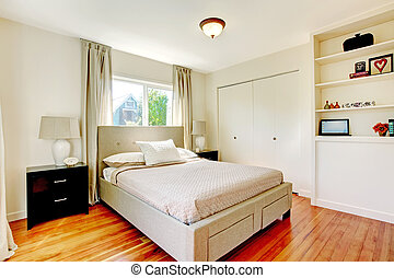 White bedroom with hardwood cherry floor - White bedroom...