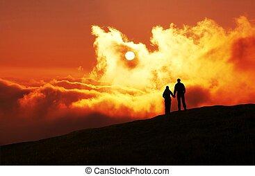 Sunset - Couple on sunset background