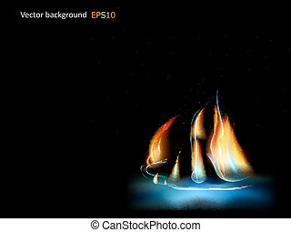 abstract fire ship - Abstract fire ship on a black...